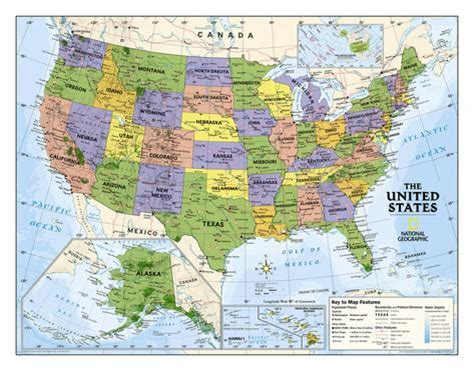 National Geographic  Kids Political Usa Education Map