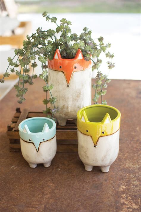 set   ceramic fox planters