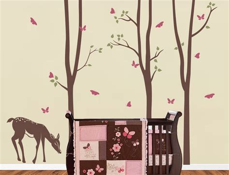 Birch Tree decal with Deer LG set Birch Decal by