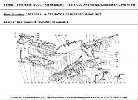 part number 10725911 alternator cables securing nut