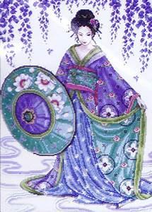 Aida Home Design Garden Geisha Cross Stitch Kit By Design Works