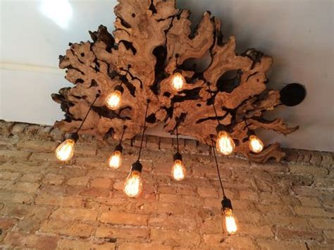 hand  large  edge olive wood chandelier