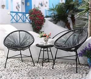 Salon De Jardin Acapulco : ensemble de 2 fauteuils uf table basse gris acapulco ~ Teatrodelosmanantiales.com Idées de Décoration