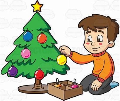 Christmas Decorating Clipart Tree Cartoon Boy Decorate