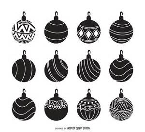 christmas ornament silhouette set free vector