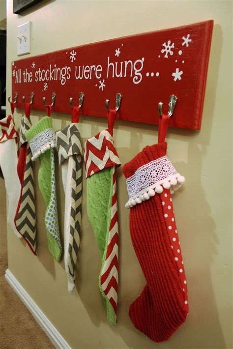 hooks for stockings on brick hanging board there s no fireplace in our new house i if you could put it in a