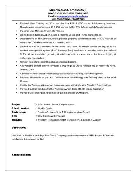 Oracle Functional Consultant Resume by Resume Sle For I T Oracle Scm Functional Consultant