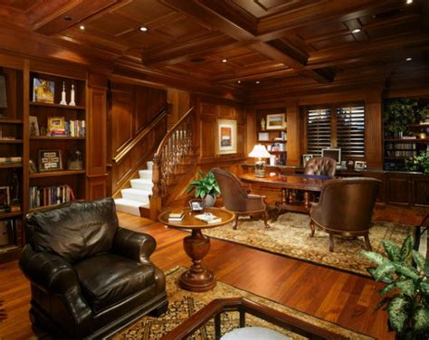wooden office design wood paneling adds elegance and warmth to your home office
