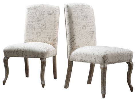 zaira french fabric dining chairs set   french script traditional dining chairs