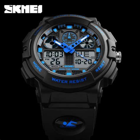 skmei jam tangan analog digital pria ad1270 black blue