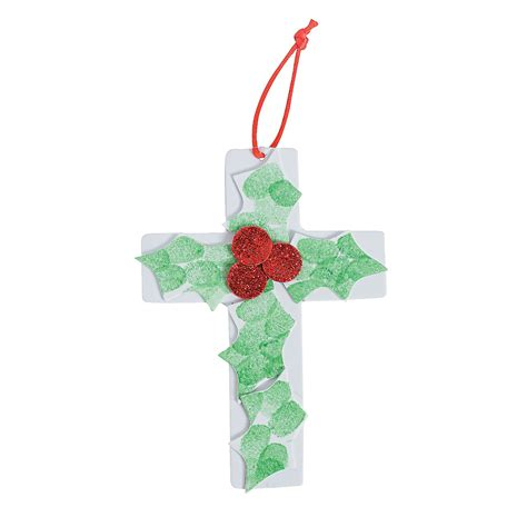 holly cross thumbprint christmas ornament craft kit