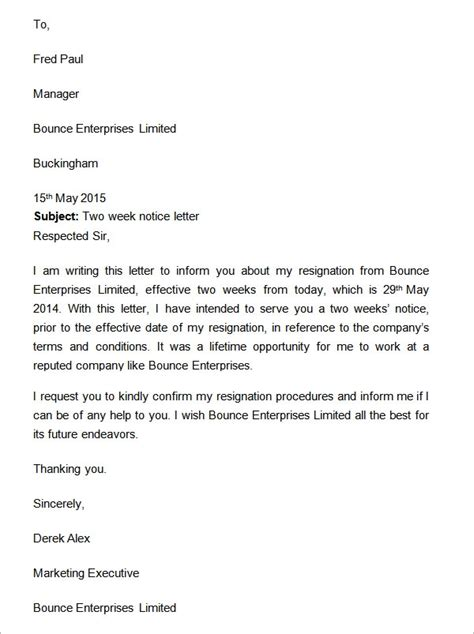 weeks notice letter    documents  word