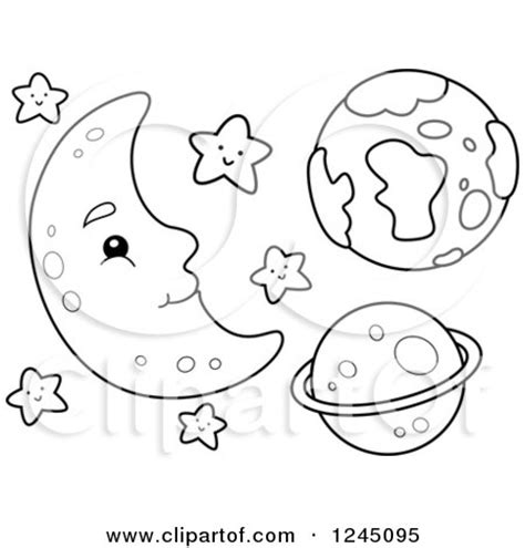 clipart   black  white happy moon  stars