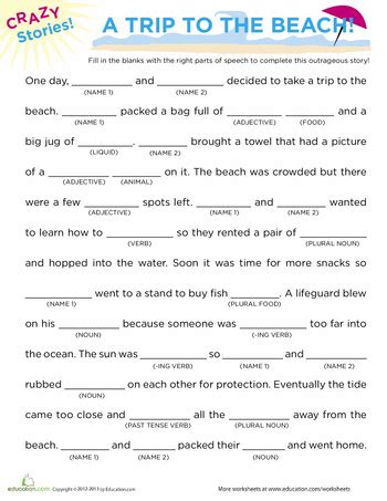 fill in the blanks story beach writing writing