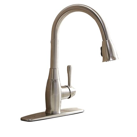 pull kitchen faucet brushed nickel shop aquasource brushed nickel 1 handle pull deck