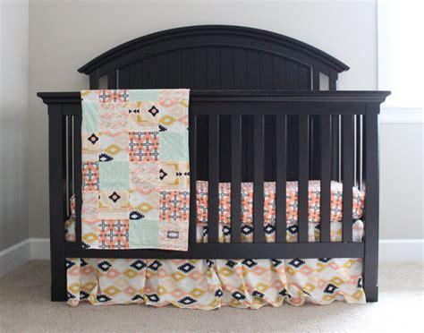 baby girl aztec bedding set peach mint coral navy blue