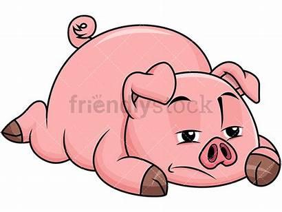 Pig Sad Bored Clipart Lying Cartoon Animals
