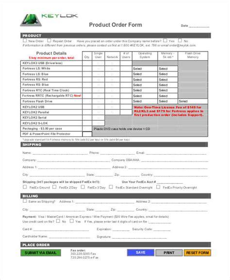 9 product order form sle free sle exle format
