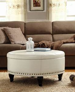 Decor chic upholstered ottoman coffee table for living for Round coffee table with sectional sofa
