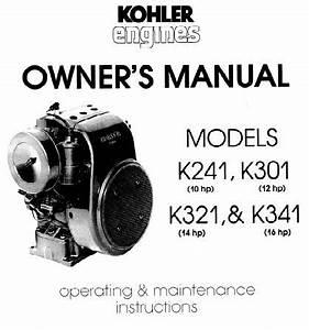 Engine Kohler K241 K301 K321 K341 Om  Tp