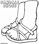 Shoes Pages Coloring Sandals Colorings sketch template