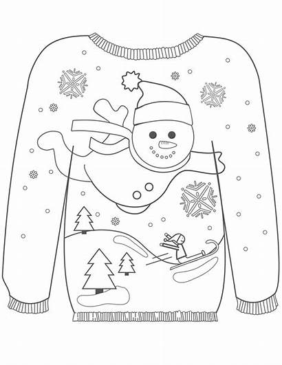 Sweater Ugly Christmas Colouring Pages Coloring Adult