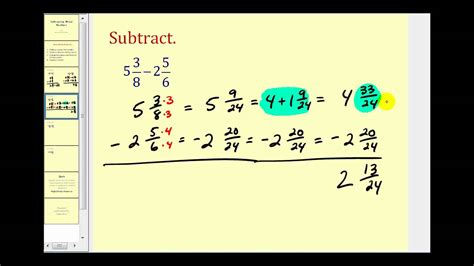 subtracting mixed numbers youtube