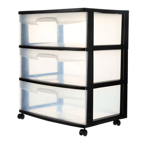 Cheap Outdoor Kitchen Ideas - sterilite 21 88 in 3 drawer wide cart 1 pack 29309001 the home depot