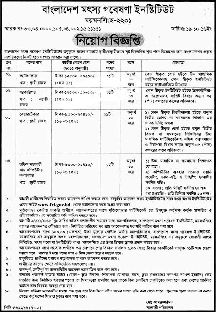 Bangladesh Fisheries Research Institute Jobs | Life in
