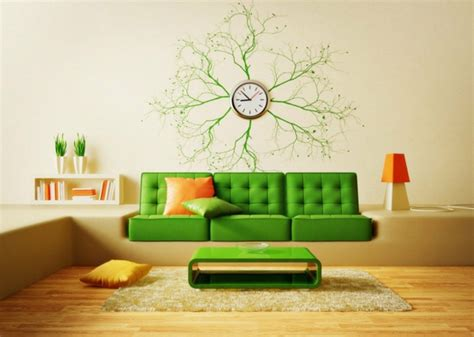 dusseldorf living room contemporary with gr nes sofa wanduhr design tolle deko für die wand