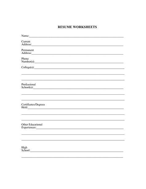 Practice Resume by Resume Practice Worksheet Writingfixya Web Fc2