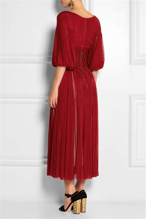 lyst dolce gabbana corseted silk tulle midi dress  red