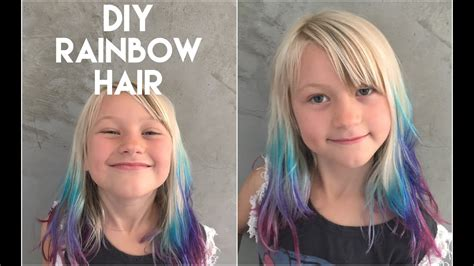 Diy Get Ombre Hair With Rainbow Tips At Home Cute Color