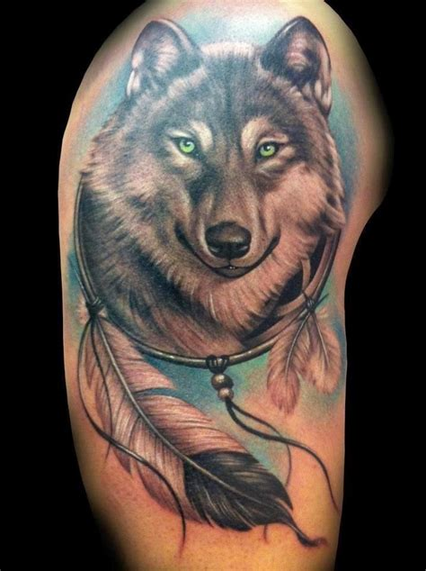meaningful wolf dreamcatcher tattoo designs