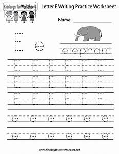 kindergarten letter e writing practice worksheet printable With writing letters for toddlers