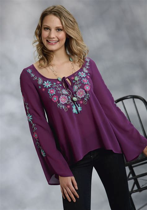 embroidered peasant blouse roper plum georgette embroidered bell sleeve