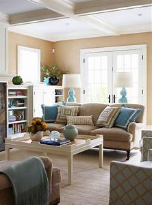 Turquoise and Tan Living Room