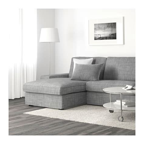 kivik three seat sofa and chaise longue isunda grey ikea