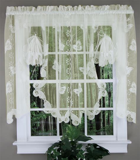 butterfly lace fan swag ivory sku country kitchen