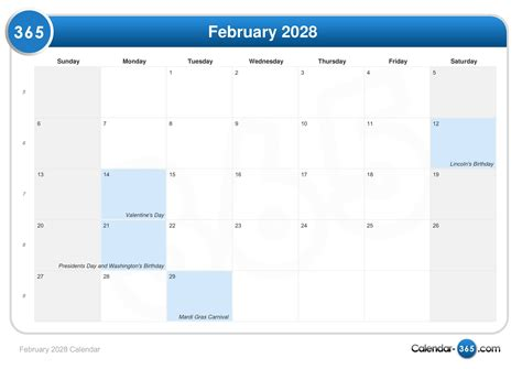 February 2028 Calendar