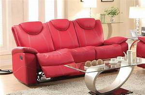 Homelegance talbot double reclining sofa red bonded for Red leather sectional reclining sofa