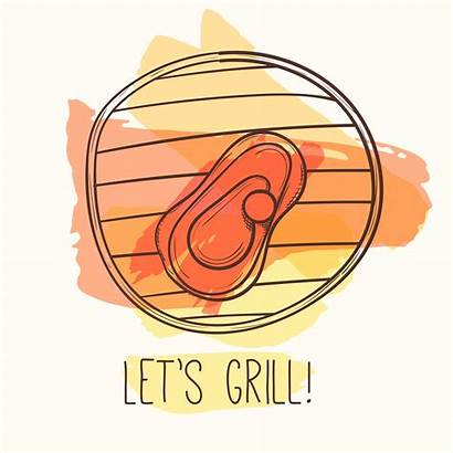 Illustration Grill Vector Barbecue Meat Steak Hand