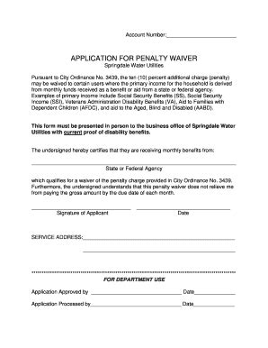 It is going to take at least a couple of months to resolve the issue. Fillable Online APPLICATION FOR PENALTY WAIVER ...
