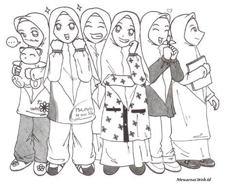 mewarnai gambar kartun muslimah dunia mewarnai