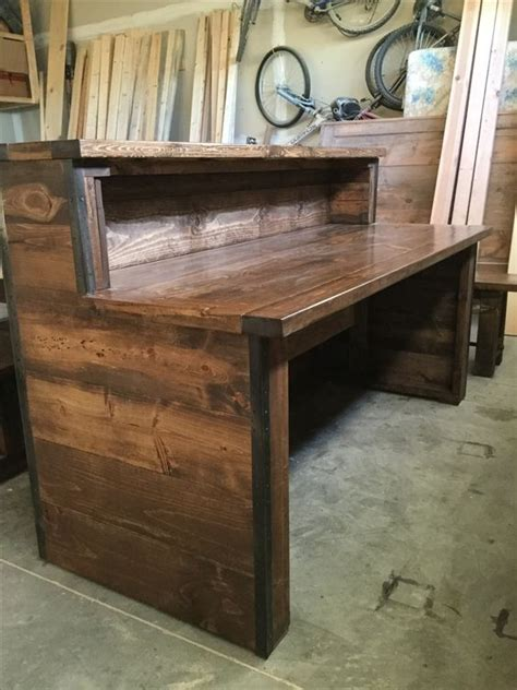 diy rustic office desk reception desks rustic industrial and industrial on pinterest