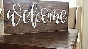 welcome sign home decor rustic hand painted wood With rustic sign lettering