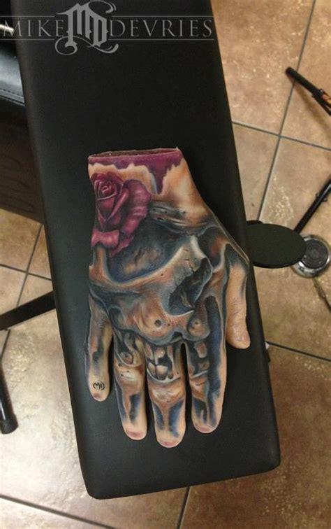 mike devries tattoos flower rose real tattoo  fake hand