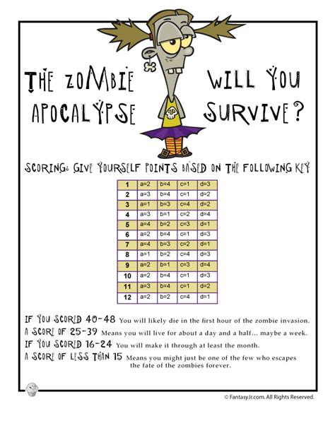 fun quizzes quiz printable personality zombie card funny halloween apocalypse cards score would printables