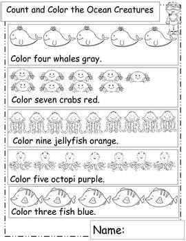 Ocean Math, Ocean Animals, Math Worksheets, Ocean Theme, Or Ocean Unit  Kinderideas Ocean