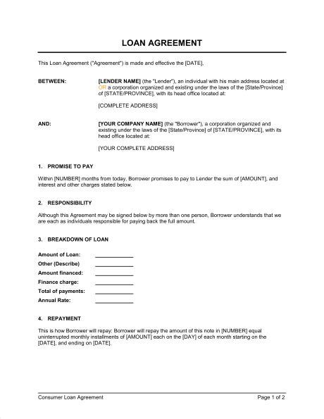 printable sample business loan template form real estate